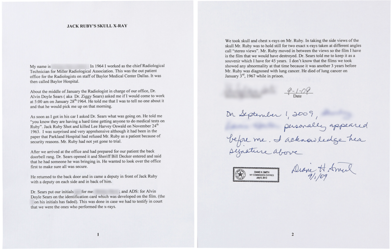two views of jack ruby letter
